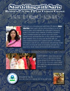 "Lecture ""Storytelling with Saris: Resilience in the Face of Climate Change"" @ US Environmental Protection Agency, Room 6226 WJCS 